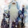 Костюм Дед Мороз синий рисунок серебро.