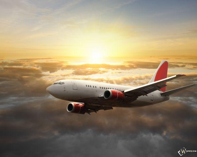 Разрешение 1920x1080, небо, Самолет, солнце, уже 17456-я картинка в базе zwalls.ru