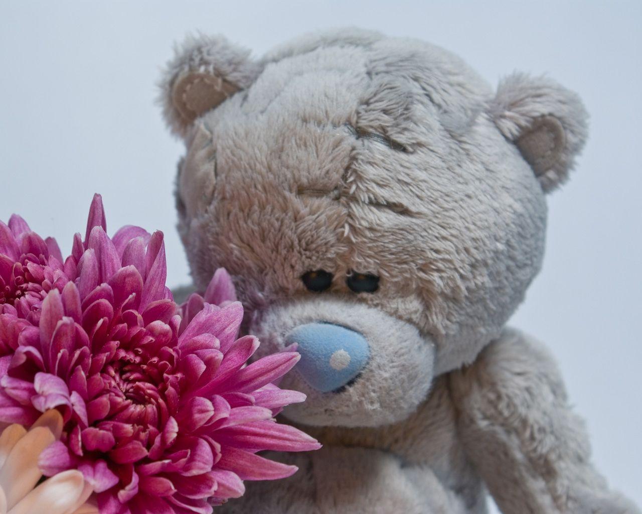 писали фото цветочного мишки обнимающего цветы жил моей мамой