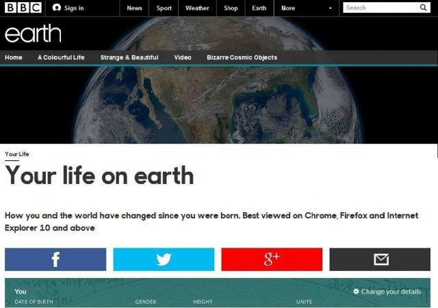 BBC запустили сервис показывающий как изменился мир с вашего рождения